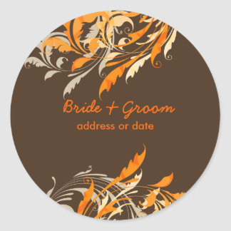 PixDezines Ornamental Leaves+Swirls Classic Round Sticker