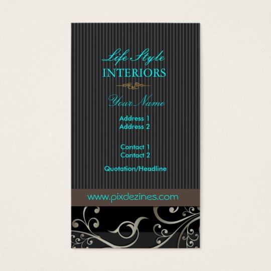 PixDezines Ornamental Swirls+pinstripes/diy colour Business Card