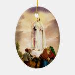 PixDezines Our Lady of Fatima, Text Customisable Ceramic Oval Decoration