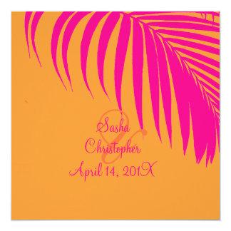PixDezines Palm Fronds, Mandarin Orange/Pink 13 Cm X 13 Cm Square Invitation Card