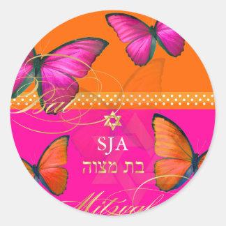 PixDezines Papillon, retro Bat Mitzvah Round Sticker