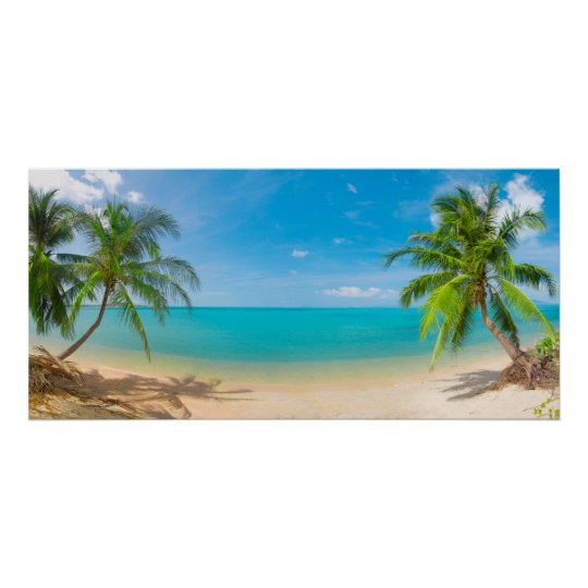PixDezines Paradise/Panoramic View Tropical Island Poster
