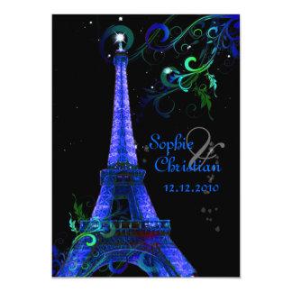 "PixDezines Paris La Nuit, eiffel tower 5"" X 7"" Invitation Card"