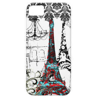 PixDezines Paris Sketch, coral damask/DIY color Barely There iPhone 5 Case