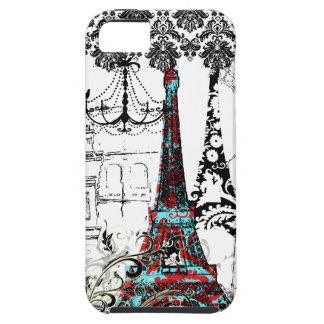 PixDezines Paris Sketch, coral damask/DIY color Tough iPhone 5 Case