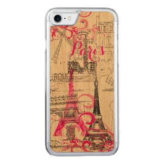 PixDezines paris sketched/DIY background color Carved iPhone 7 Case