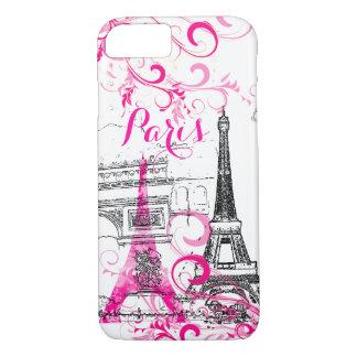 PixDezines Paris sketched/DIY background color iPhone 7 Case