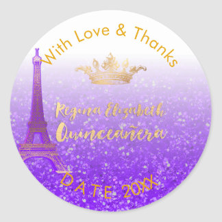 PixDezines Paris/Sweet 15/Gold Crown/DIY Thank You Classic Round Sticker