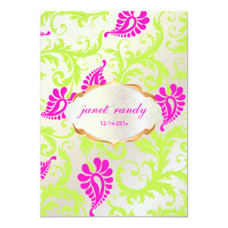 PixDezines pavo damask 13 Cm X 18 Cm Invitation Card