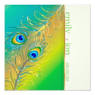 PixDezines peacock feather/aqua/turquoise 13 Cm X 13 Cm Square Invitation Card