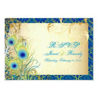 PixDezines peacock feather/aqua/turquoise 3.5x5 Paper Invitation Card