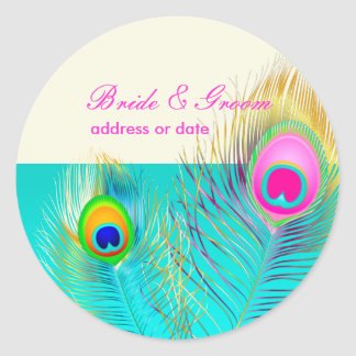 PixDezines peacock feather/aqua/turquoise Round Sticker