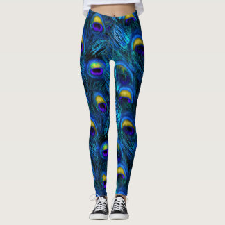 PixDezines Peacock Feather/Cobalt/Aqua Leggings