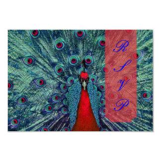 PixDezines peacock feather/teal 9 Cm X 13 Cm Invitation Card