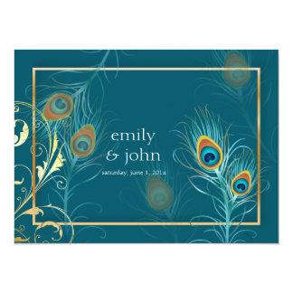 PixDezines peacock feather/teal 14 Cm X 19 Cm Invitation Card