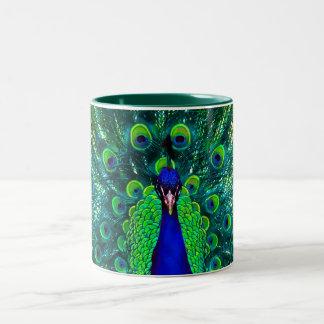 PixDezines peacock/teal/aqua blue Two-Tone Mug