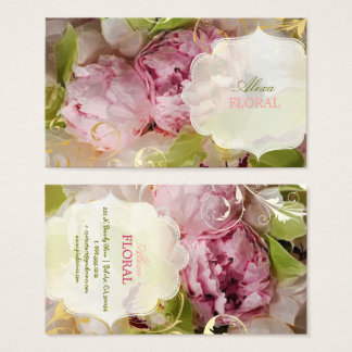PixDezines Peonies + Green Orchid Business Card
