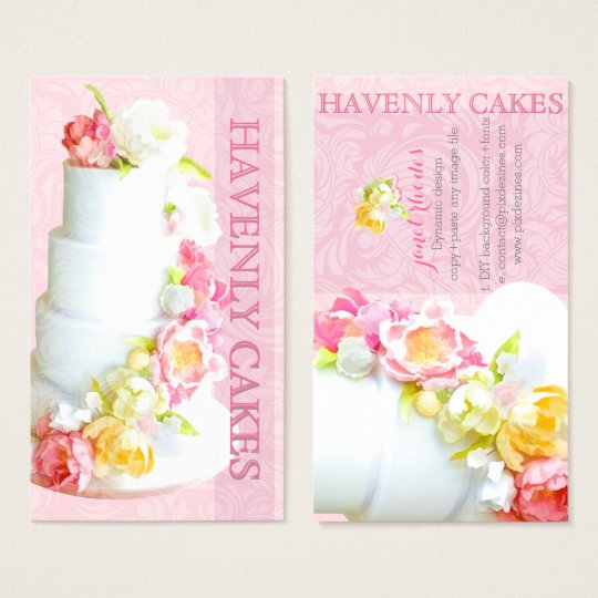 PixDezines peonies wedding cake/diy background Business Card