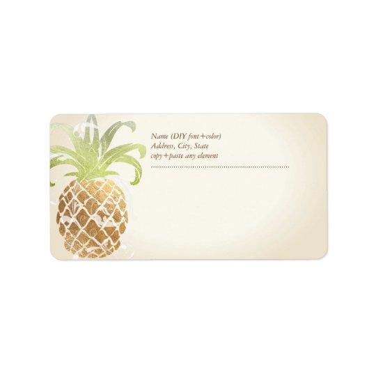 PixDezines Pineapple/Faux Gold Address Label