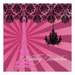 PixDezines Pink Eiffel Tower + Chandelier Custom Invitation