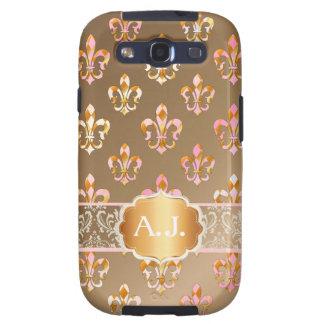 PixDezines pink gold fleur de lis Samsung Galaxy SIII Cases