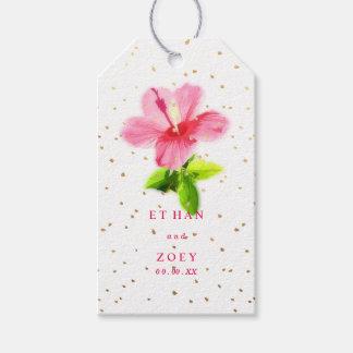 PixDezines Pink Hawaiian Hibiscus/Gold Specks