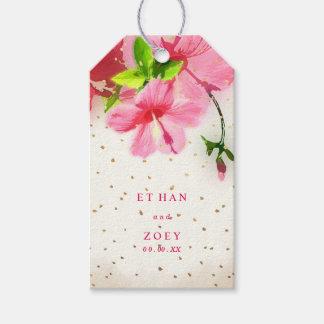 PixDezines pink hawaiian hibiscus/thank you tags