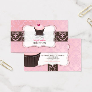 PixDezines pink heart cupcake+chantal damask Business Card