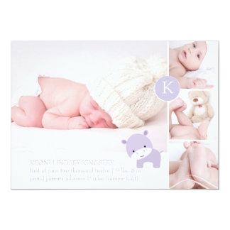 PixDezines pink hippo/diy accent color 13 Cm X 18 Cm Invitation Card