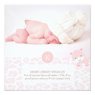 PixDezines pink hippo+leopard print 13 Cm X 13 Cm Square Invitation Card