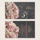 PixDezines pink hydrangeas, florists/chalkboard Business Card