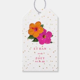 PixDezines Pink/Orang Hibiscus/Gold Specks Gift Tags