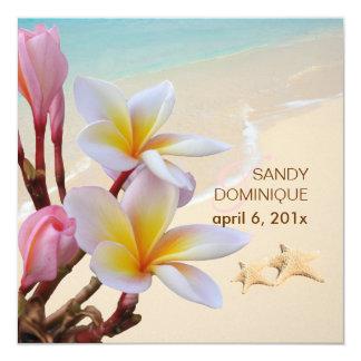 PixDezines Pink Plumeria + Beach + starfish 13 Cm X 13 Cm Square Invitation Card