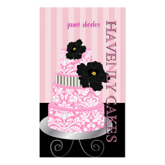 PixDezines Pink stripes+damask cake pâtisserie Business Card Templates