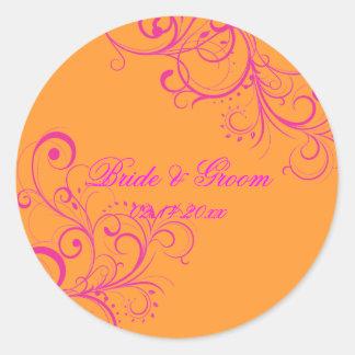 PixDezines Pink Swirls/DIY background color! Classic Round Sticker