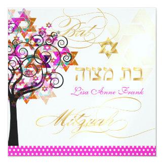 PixDezines Pink Tree of Life/Bat Mitzvah 13 Cm X 13 Cm Square Invitation Card