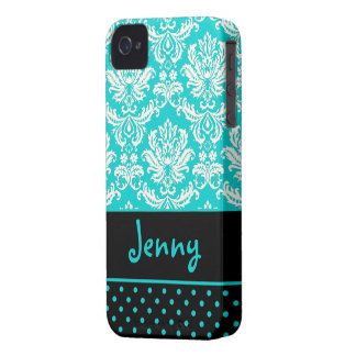 PixDezines Piqué Damask/Aqua+Cream/DIY color iPhone 4 Case-Mate Case