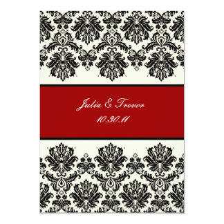 PixDezines Piqué, Damask / Black + Off White 13 Cm X 18 Cm Invitation Card