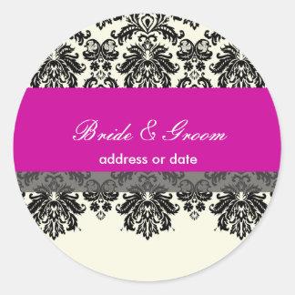 PixDezines Piqué Damask, hot pink Classic Round Sticker