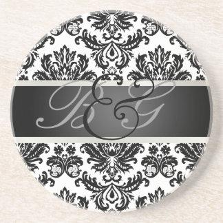PixDezines Piqué Damask, Monogram Wedding Coasters