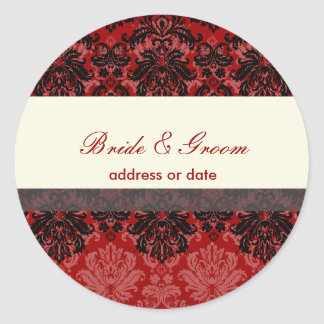 PixDezines Piqué Damask, red velvet Classic Round Sticker