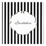 PixDezines Plain stripes black + white/zebra frame Custom Invitations