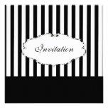 PixDezines Plain stripes black + white/zebra frame Personalised Invitation