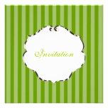PixDezines plain stripes/diy colour/green Custom Invitation
