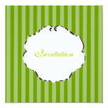 PixDezines plain stripes/diy colour/green 13 Cm X 13 Cm Square Invitation Card