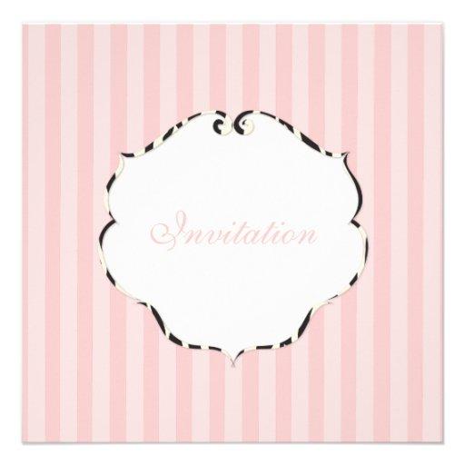 PixDezines Plain stripes/DIY colour/pink Custom Invite