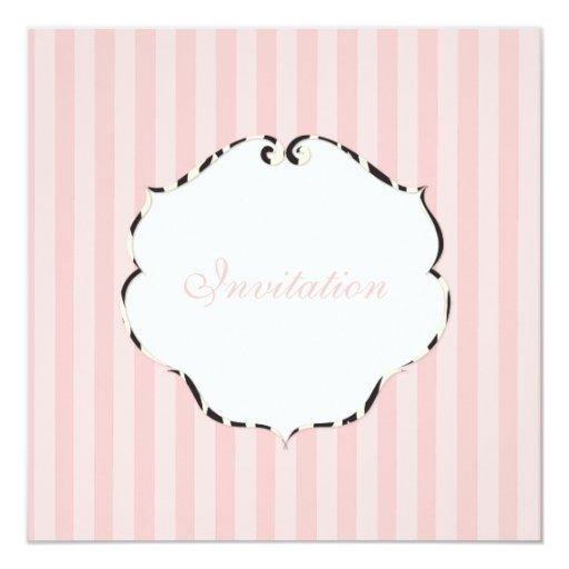 PixDezines Plain stripes/DIY colour/pink 13 Cm X 13 Cm Square Invitation Card