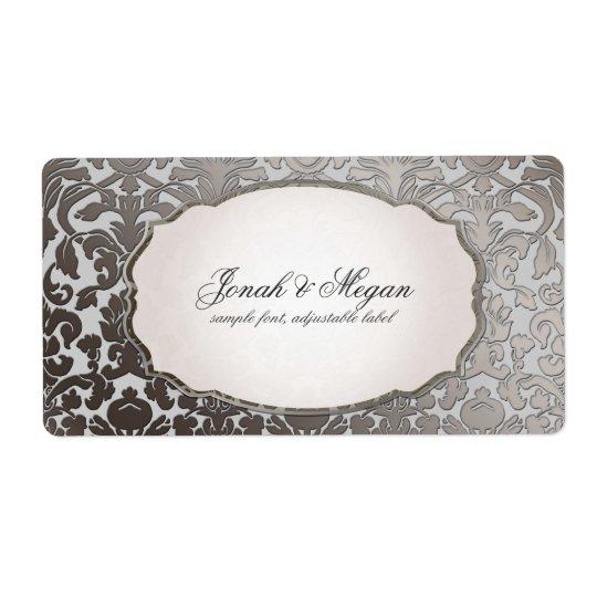 PixDezines platinum flora damask/DIY background Shipping Label