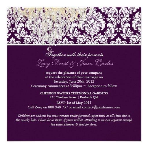 PixDezines Plum Moiré Damask/brown/fall wedding Custom Announcement