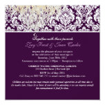 PixDezines Plum Moiré Damask/brown/fall wedding 13 Cm X 13 Cm Square Invitation Card